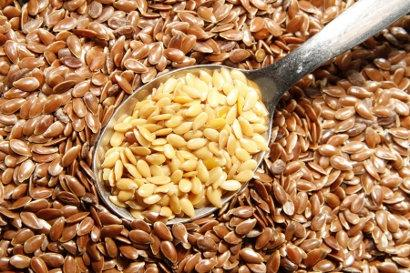 Graines de lin dorees et brunes