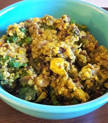 Quinoa aux champis epinards et huile d olive a l ail
