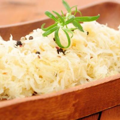 Raw vegan fermented cabbage sauerkraut
